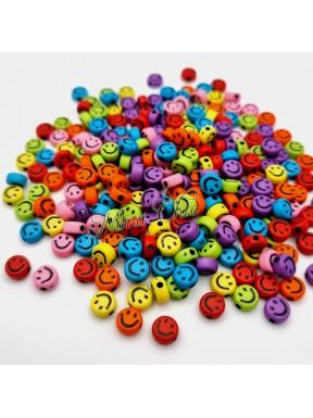 50 PERLE in Acrilico Smile colori misti 7x3mm