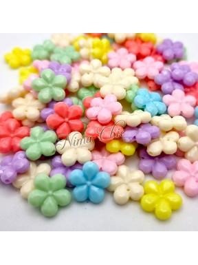 20 PERLE in Acrilico Fiori colori pastello 13x14mm