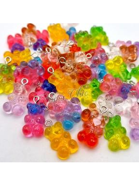10 Ciondoli in Acrilico Orsetti glitterati colori misti 21x11mm