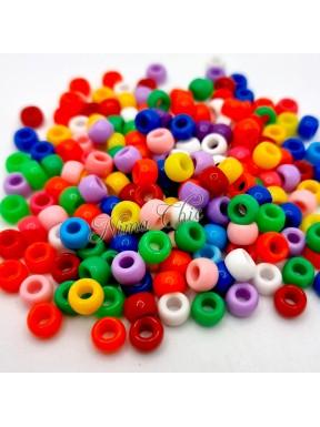 50 PERLE in Acrilico colori misti 8x6mm foro 3,5mm