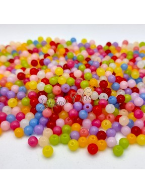 100 PERLE in Acrilico multicolor effetto giada 6mm foro 1,5mm