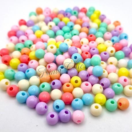 100 PERLE in Acrilico colori pastello 6mm foro 1,5mm