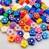 20 PERLE in pasta polimerica fiori colori misti 10mm foro 2mm