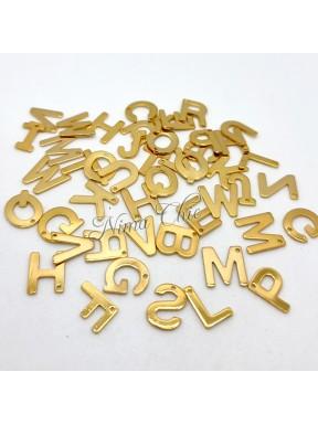 1 pz Ciondolo in acciaio inox color oro 11mm