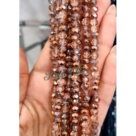 1 Filo di Cipollotti in cristallo sfaccettato 6mm Crystal Rose Gold