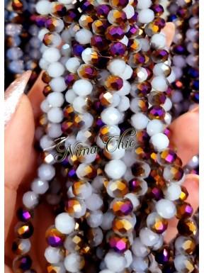 1 Filo di Cipollotti in cristallo sfaccettato 6mm Light Grey Purple 1/2