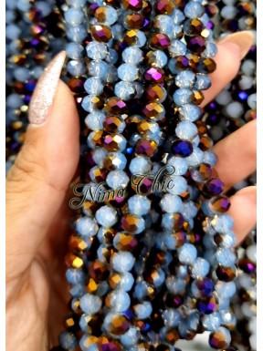 1 Filo di Cipollotti in cristallo sfaccettato 6mm Aqua Purple 1/2
