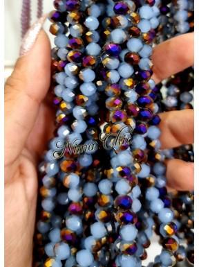 1 Filo di Cipollotti in cristallo sfaccettato 6mm Aqua Opal Purple 1/2