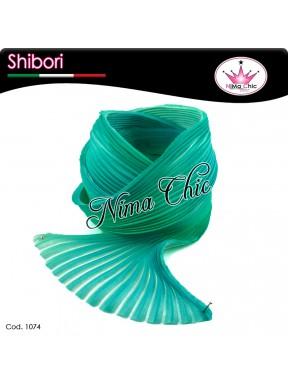 15 cm SETA SHIBORI white sea green