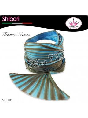 15 cm SETA SHIBORI turquoise brown