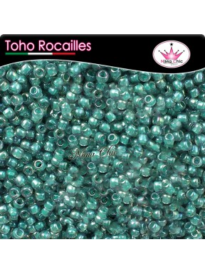 10 gr TOHO ROCAILLES 8/0 inside rainbow Lt. sapphire opaque teal lined