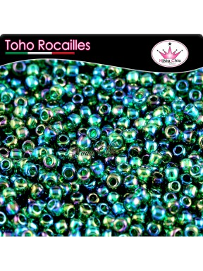 10 gr TOHO ROCAILLES 8/0 Transparent rainbow green emerald