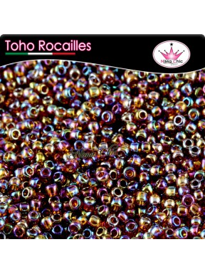 10 gr TOHO ROCAILLES 8/0 Transparent rainbow smoky top