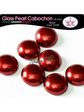 4 pz CABOCHON PEARL GLASS 14mm Brick