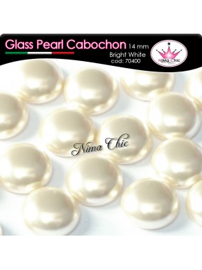 4 pz CABOCHON PEARL GLASS 14mm Bright white