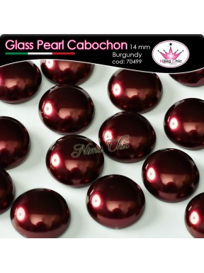 4 pz CABOCHON PEARL GLASS 14mm Burgundy