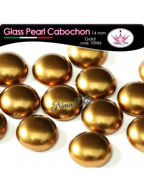 4 pz CABOCHON PEARL GLASS 14mm Gold