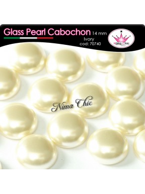4 pz CABOCHON PEARL GLASS 14mm Ivory