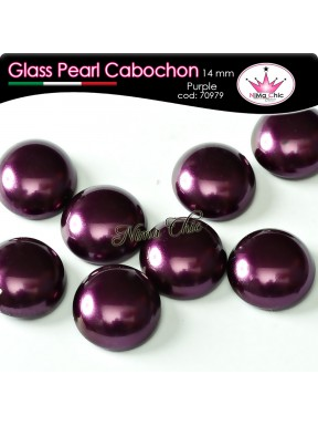 4 pz CABOCHON PEARL GLASS 14mm Purple