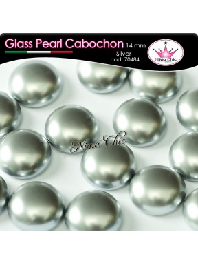 4 pz CABOCHON PEARL GLASS 14mm Silver