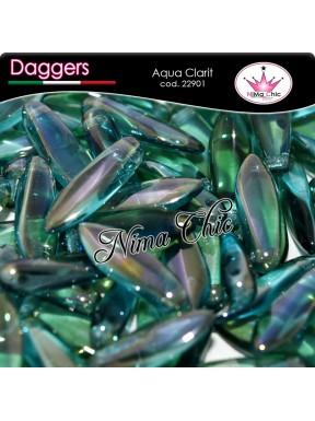 20pz DAGGERS BEADS CZECH 5x16mm Aqua clarit