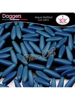 20pz DAGGERS BEADS CZECH 5x16mm Aqua matted