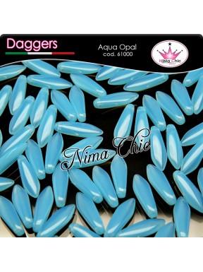20pz DAGGERS BEADS CZECH 5x16mm Aqua opal
