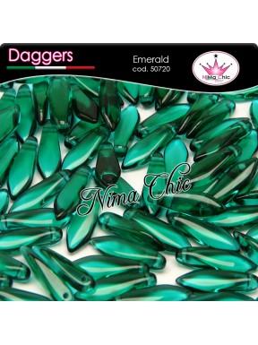 20pz DAGGERS BEADS CZECH 5x16mm Emerald