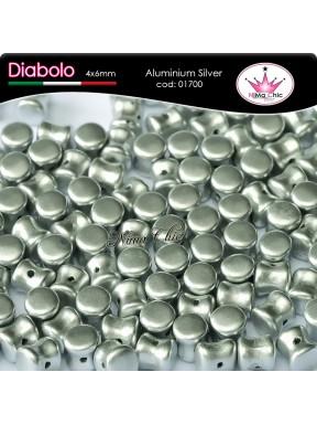 30pz DIABOLO SHAPE BEADS 4x6mm Aluminium silver