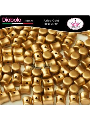 30pz DIABOLO SHAPE BEADS 4x6mm Aztec gold