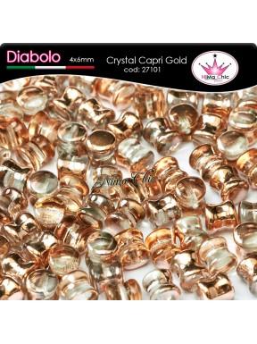 30pz DIABOLO SHAPE BEADS 4x6mm Crystal capri gold