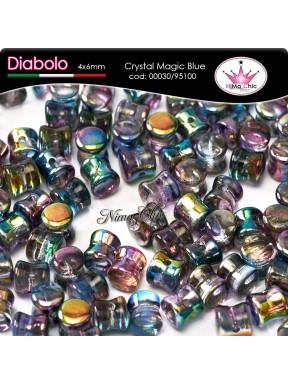 30pz DIABOLO SHAPE BEADS 4x6mm Crystal magic blue