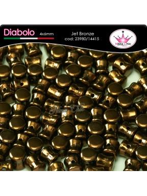 30pz DIABOLO SHAPE BEADS 4x6mm Jet bronze