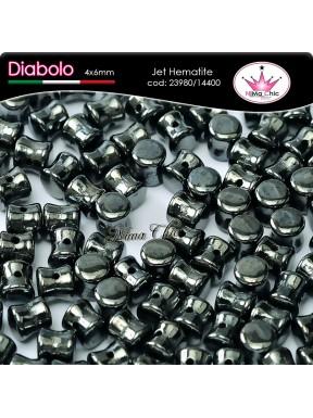 30pz DIABOLO SHAPE BEADS 4x6mm Jet hematite