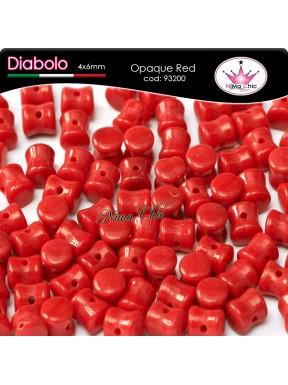 30pz DIABOLO SHAPE BEADS 4x6mm Opaque red