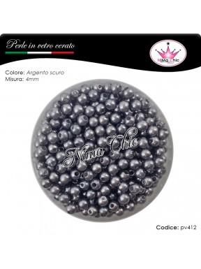 200 pz perle in vetro cerato pvc Argento scuro 4mm