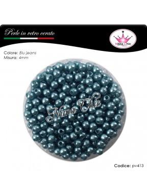 200 pz perle in vetro cerato pvc Blue jeans 4mm