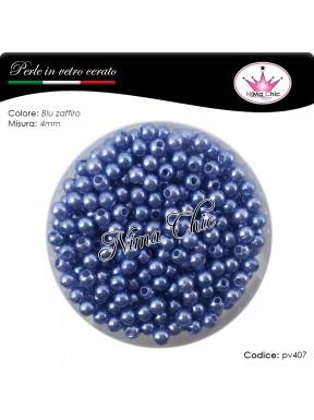 200 pz perle in vetro cerato pvc Blu zaffiro 4mm