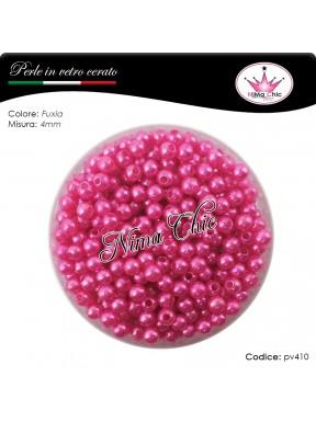 200 pz perle in vetro cerato pvc Fuxia 4mm
