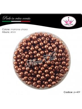 200 pz perle in vetro cerato pvc Marrone chiaro 4mm