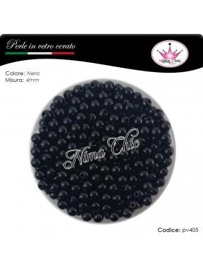 200 pz perle in vetro cerato pvc Nero 4mm