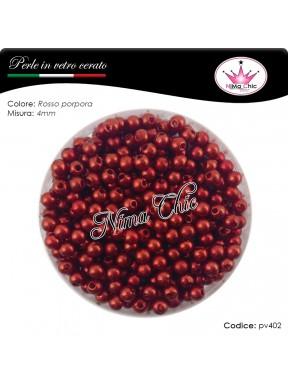 200 pz perle in vetro cerato pvc Rosso porpora 4mm