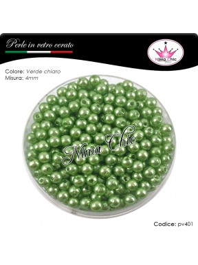 200 pz perle in vetro cerato pvc Verde chiaro 4mm