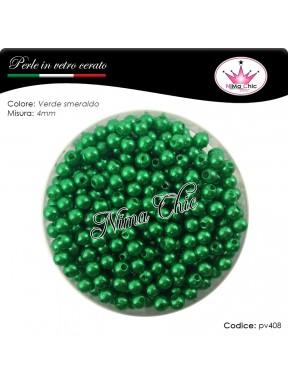 200 pz perle in vetro cerato pvc Verde smeraldo 4mm
