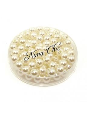 100 pz perle in vetro cerato pvc Avorio 6mm