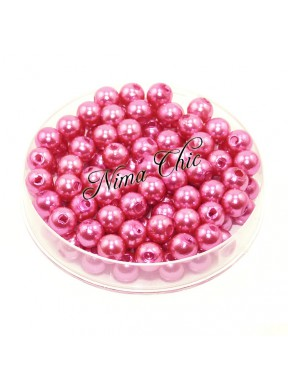 100 pz perle in vetro cerato pvc Fuxia 6mm