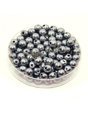 100 pz perle in vetro cerato pvc Grigio 6mm