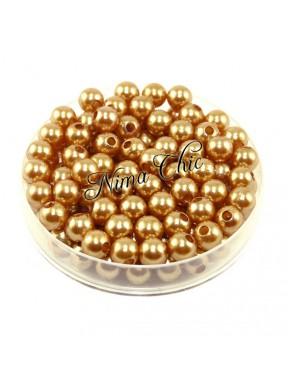 100 pz perle in vetro cerato pvc Oro 6mm