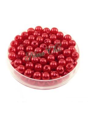 100 pz perle in vetro cerato pvc Rosso P. 6mm