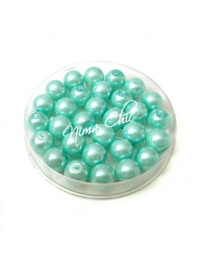 80 pz perle in vetro cerato pvc Verde Tiffany 8mm